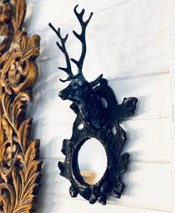 Deer Head Mirrored Wall Sconce