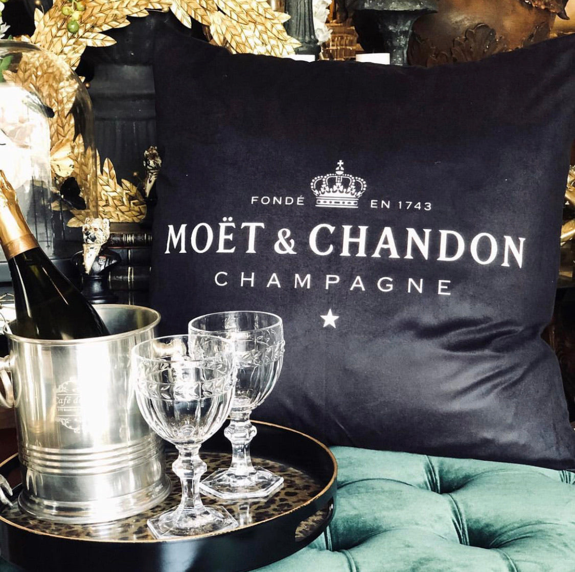 Moet & Chandon Velvet Cushion - Black or White