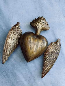 Sacred Heart with Wings Decoration