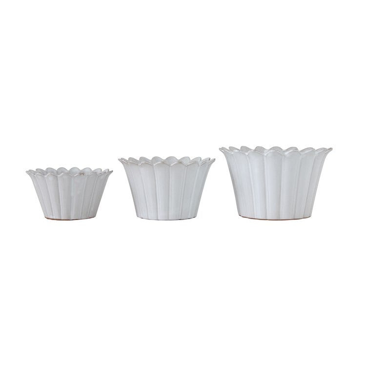 Terracotta Fluted Planters/Bowls - Set of 3