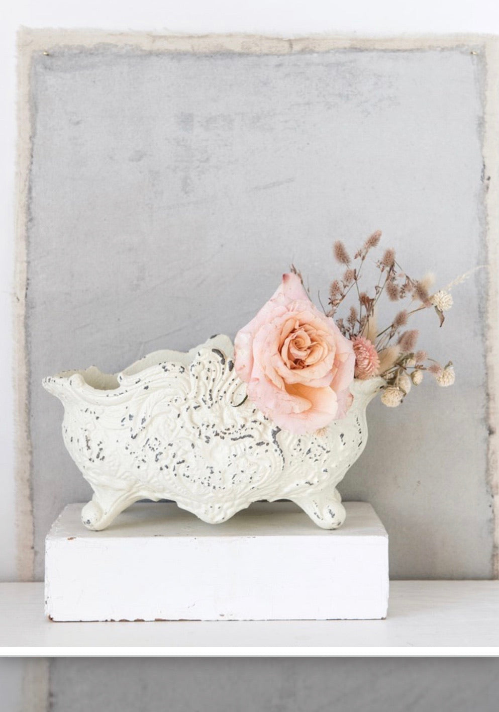 Distressed White Cast Iron Urn