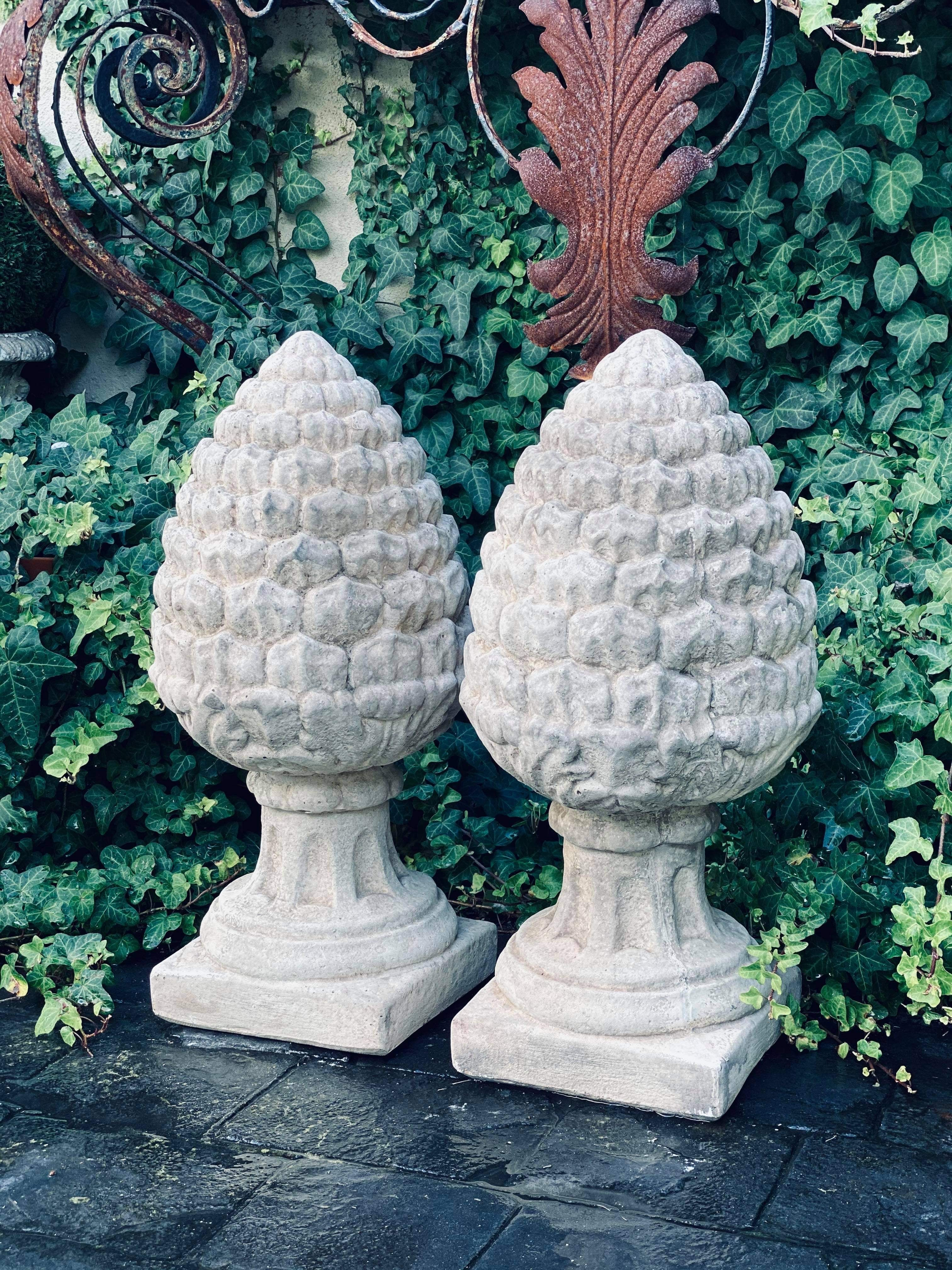 Concrete Acorn / Pinecone Finial - Pair Available