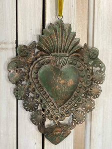 Aged Green Sacred Heart with Cupids