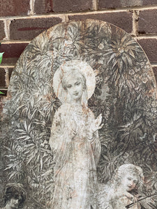 Vintage Artwork of Lady in the Garden