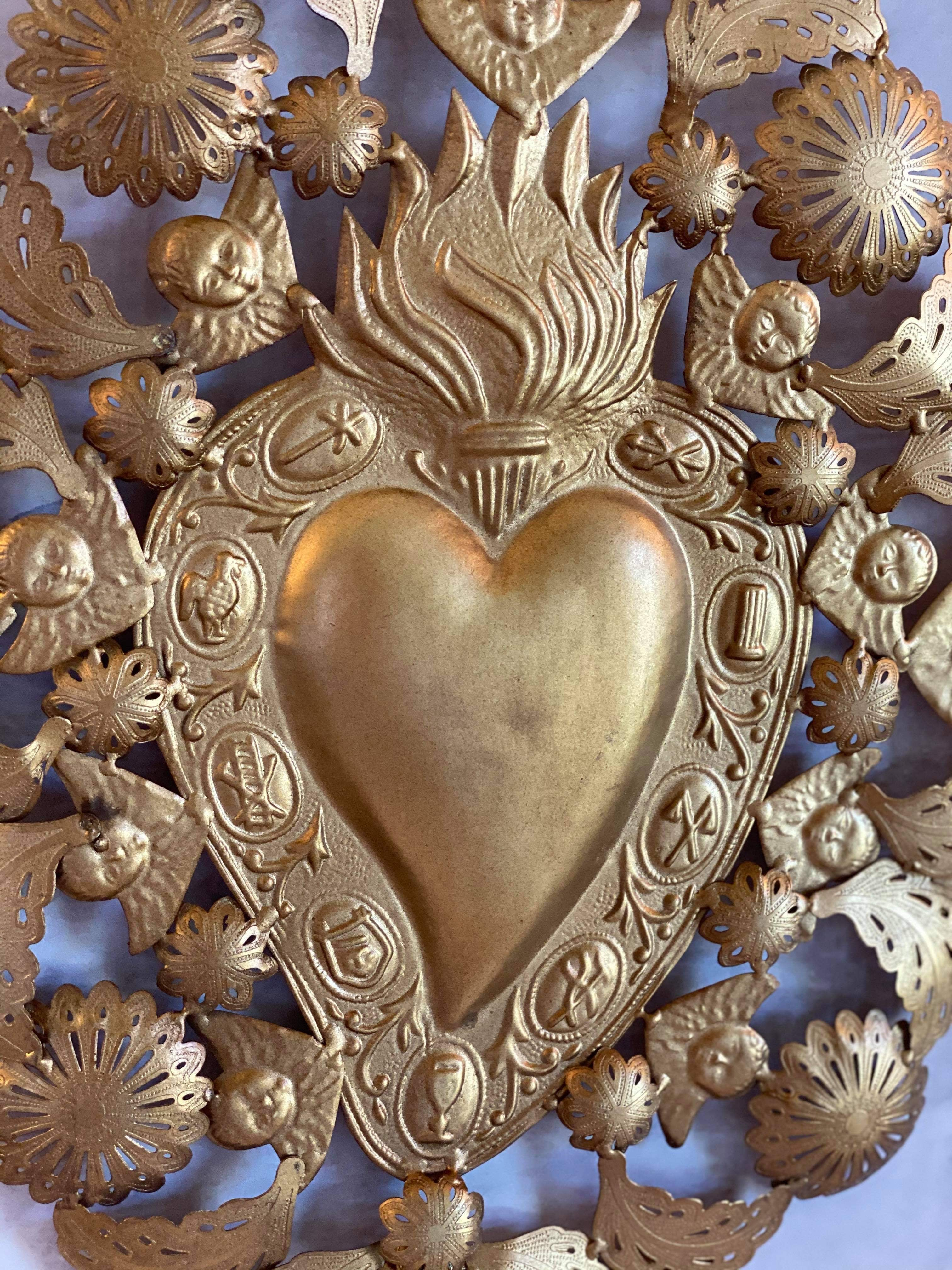 Large Gold Sacred Heart Wall Hanging