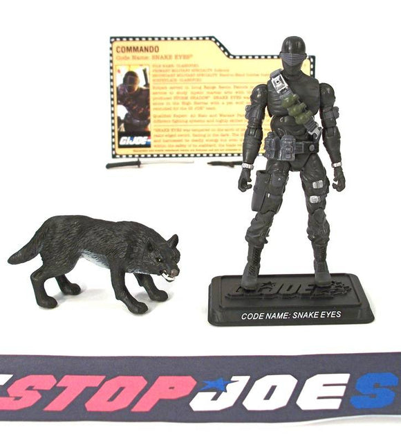 2007 25TH ANNIVERSARY G.I. JOE SNAKE EYES V29 WAVE 1 LOOSE 100% COMPLETE + F/C BLACK TIMBER VARIANT