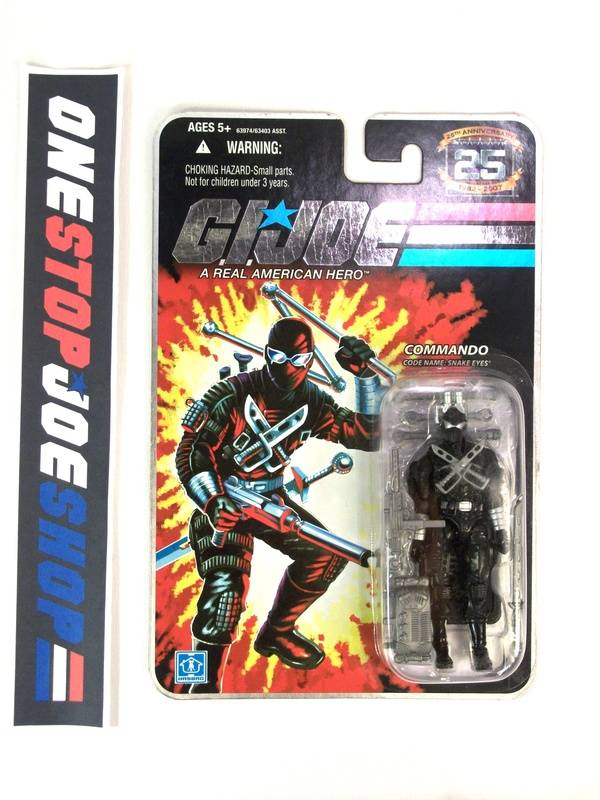 2008 25TH ANNIVERSARY G.I. JOE SNAKE EYES V34 WAVE 7 NEW SEALED EMBOSSED CARD