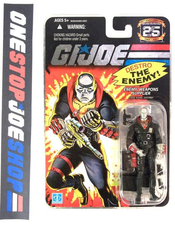 2007 25TH ANNIV G.I. JOE COBRA DESTRO V14 WAVE 4 NEW SEALED ON FOIL CARD