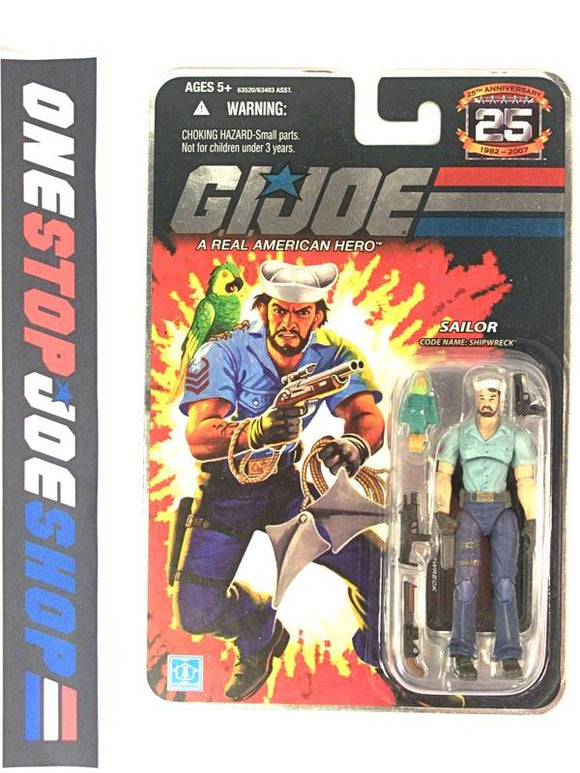 2007 25TH ANNIVERSARY G.I. JOE SHIPWRECK V11 WAVE 3 NEW SEALED FOIL CARD ANCHOR TATTOO ANCHOR ON BELT VARIANT