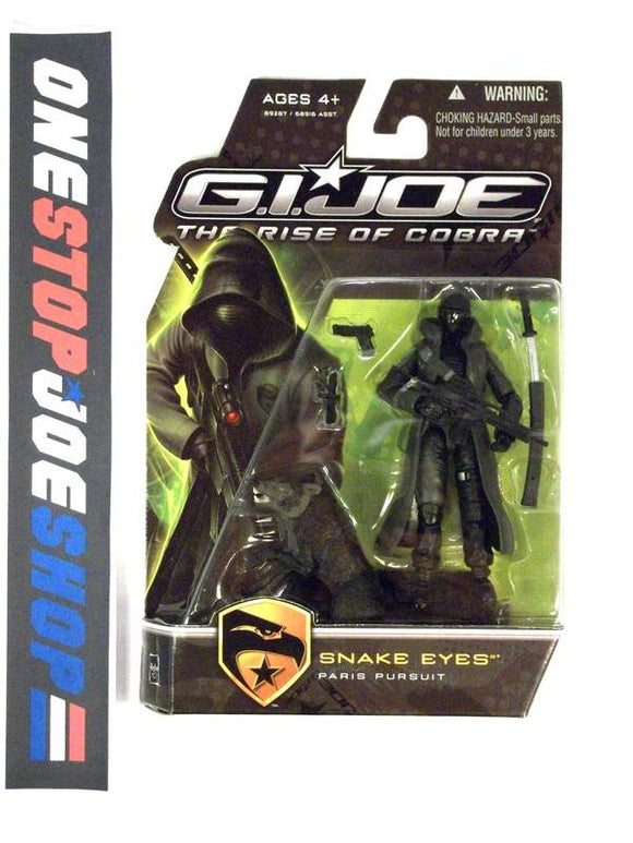 2009 ROC G.I. JOE SNAKE EYES V44 PARIS PURSUIT NEW SEALED BLACK TIMBER VARIANT