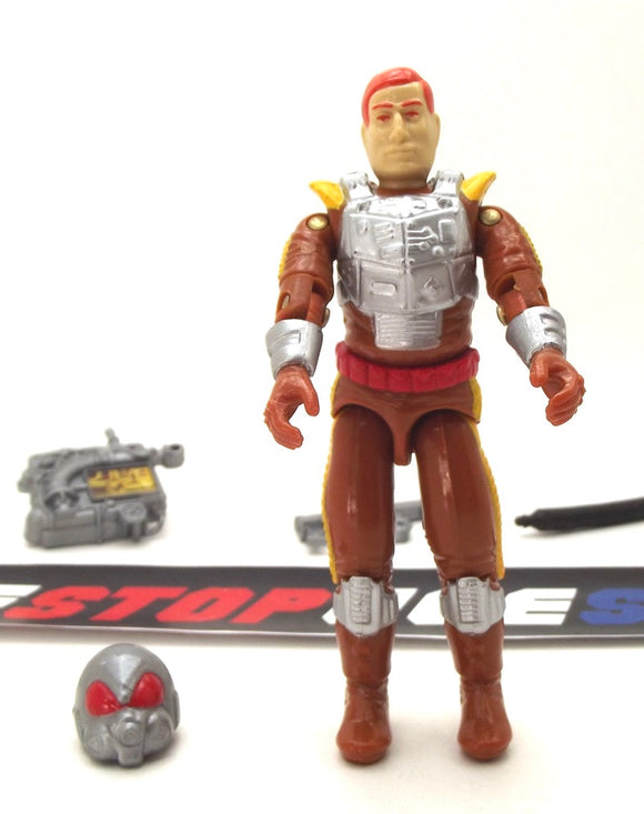 1988 ARAH G.I. JOE CHARBROIL (RED EYES) V1 FLAMETHROWER LOOSE 100% COMPLETE (a)