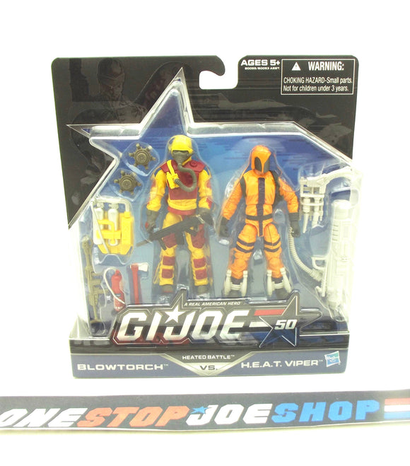 2014 50TH ANNIV G.I. JOE COBRA HEATED BATTLE PACK BLOWTORCH V4 / H.E.A.T. VIPER V4 NEW SEALED