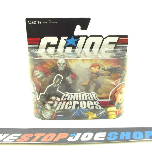 2009 COMBAT HEROES G.I. JOE COBRA DESTRO V1 / SCARLETT V1 NEW SEALED