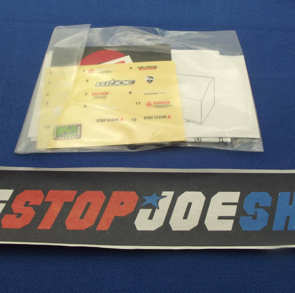 2009 ROC G.I. JOE OUTPOST DEFENDER WAL-MART EXCLUSIVE STICKER SHEET INSTRUCTIONS LOGO STICKERS ARASHIKAGE TATTOO NEW SEALED
