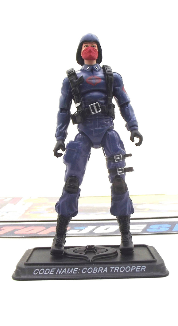 2008 25TH ANNIVERSARY G.I. JOE COBRA ENEMY TROOPER V12 WAVE 12 LOOSE 100% COMPLETE + FULL CARD BLACK RIFLE / RED MASK