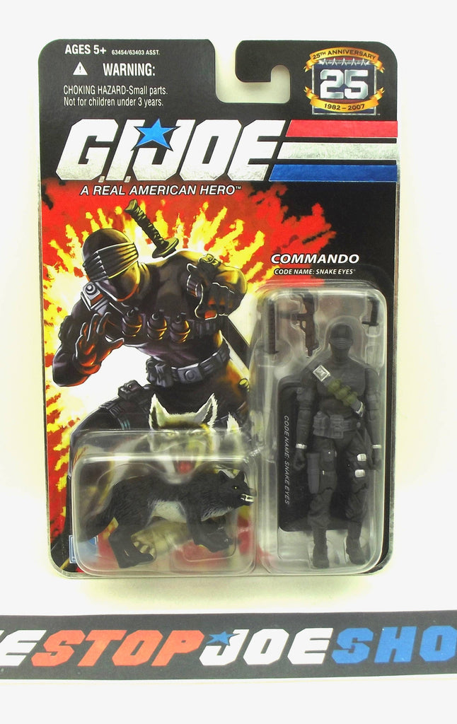 2007 25TH ANNIVERSARY G.I. JOE SNAKE EYES V29 WAVE 1 NEW SEALED BLACK TIMBER VARIANT