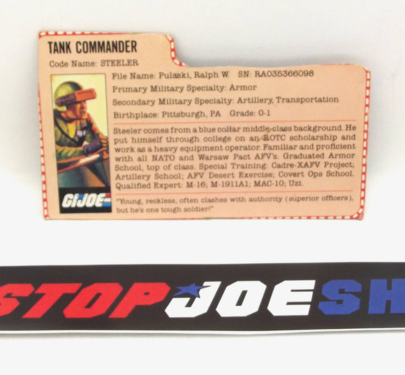1982 VINTAGE ARAH STEELER V1 FILE CARD