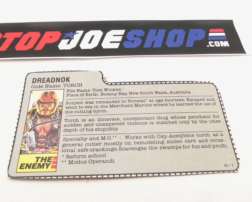 1985 ARAH Dreadnok Torch V1 File Card Gray (b)