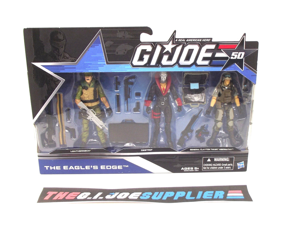 2014 50TH ANNIV G.I. JOE COBRA THE EAGLE'S EDGE PACK GENERAL HAWK V6 / LEATHERNECK V9 / DESTRO V29 NEW SEALED