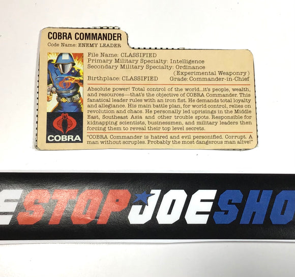 1982-83 VINTAGE ARAH COBRA COMMANDER V1.5  FILE CARD