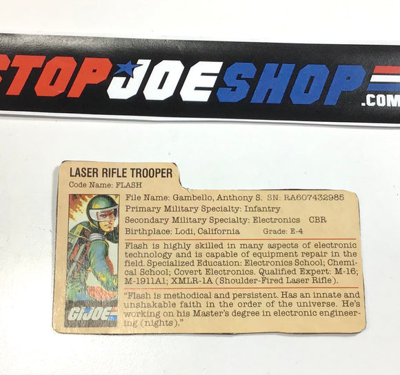 1982 VINTAGE ARAH G.I. JOE FLASH V1 FILE CARD