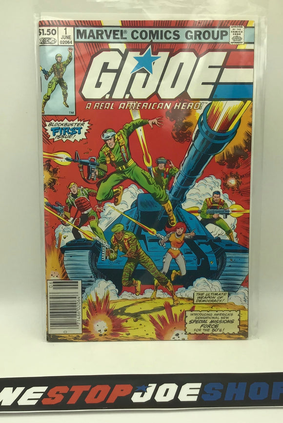 MARVEL COMICS G.I. JOE A REAL AMERICAN HERO ISSUE #1 COMIC BOOK NEWSSTAND EDITION VF+ / NM 1ST PRINT