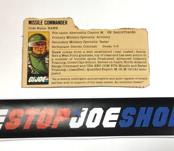 1982 VINTAGE ARAH G.I. JOE HAWK V1 FILE CARD (c)