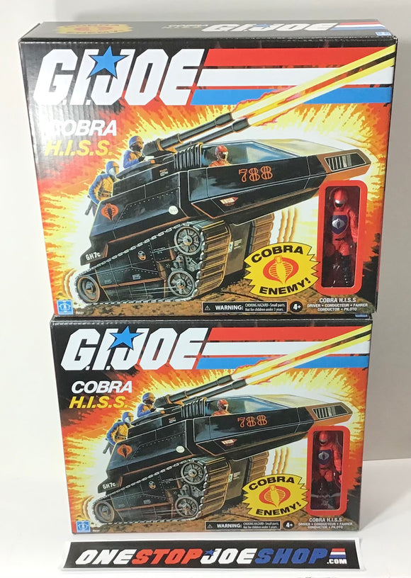 2020 RETRO LINE G.I. JOE COBRA H.I.S.S. HISS TANK VEHICLE W/ H.I.S.S. DRIVER V6 LOT OF 2 WAL-MART EXCLUSIVE NEW SEALED