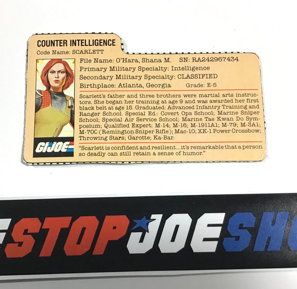 1982 VINTAGE ARAH SCARLETT V1 FILE CARD COMMANDER OFFER (a)