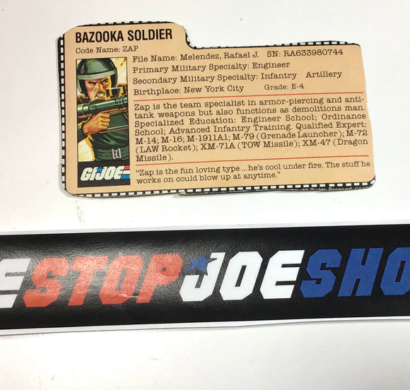 1982 VINTAGE ARAH G.I. JOE ZAP V1 FILE CARD (c)