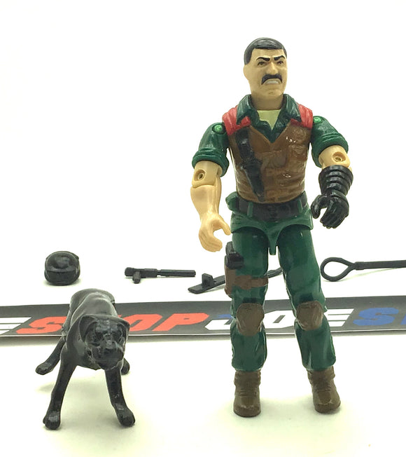 1984 VINTAGE ARAH G.I. JOE MUTT & JUNKYARD V1 K-9 OFFICER & ATTACK DOG LOOSE 100% COMPLETE (a)