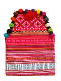 Hmong pink tribal clutch with pompoms
