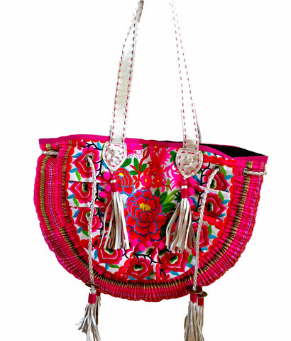 Ibiza tribal tote beach bag with tassels
