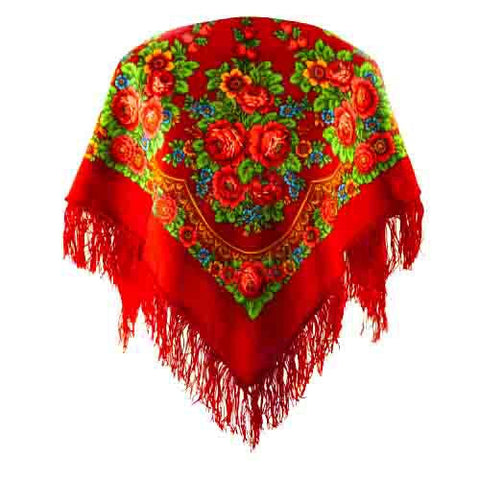 red festival boho scarf with a fringe
