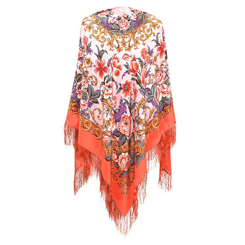 Gypsy boho pink russian piano shawl with fringe