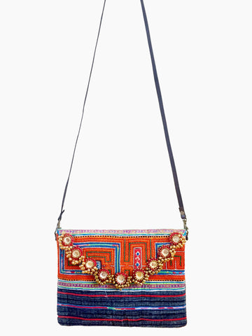 Hmong blue tribal messenger bag with mirrors