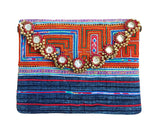 Hmong tribal messenger bag with mirrors