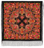 Gypsy bohemian spanish red and black piano shawl