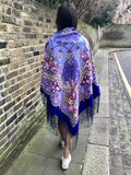 Extra large purple dream catcher boho coachella festival shawl with silk fringe