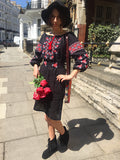 Boho ukrainian embroideried vyshyvanka black and red linen dress