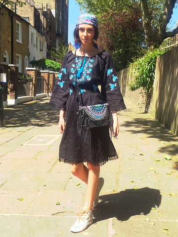 Bohemian festival embroidered vyshyvanka linen black and blue dress