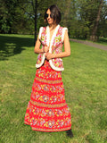 Red Bohemian gypsy festival maxi skirt