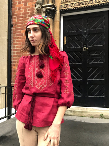 red coachellacfestival boho bandana with a fringe