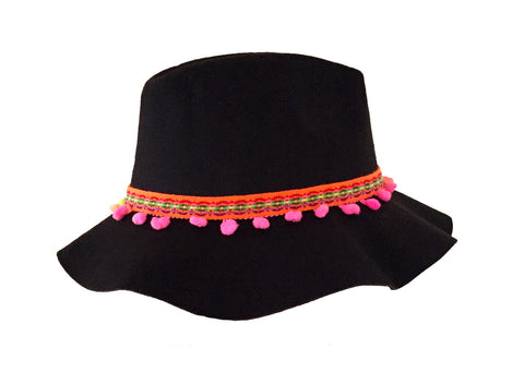 Aztec festival boho hat with aztec trim