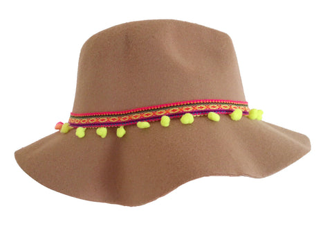 Festival aztec hat wit pompoms