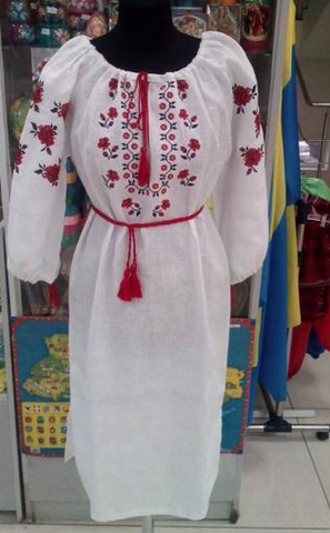 Off white boho ethnic vyshysvanka embroidered dress