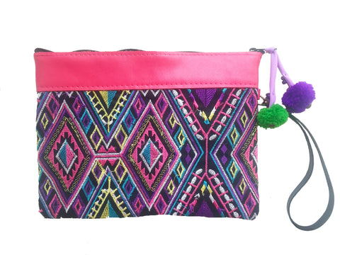 tribal embroidered hmong boho clutch