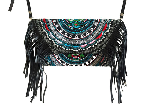 Black hmong tribal cross body bag with tassels