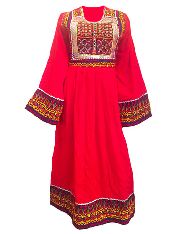 Embroidered mirrored and beaded bohemian tribal red dress