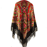 Gypsy black red russian piano shawl with fringe